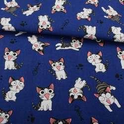 Деко-котон синій, сіро-біле кошеня Чи, ш.150