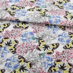 Деко-котон білий, рожеві, блакитні квіти, жовто-чорні метелики, ш.150