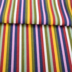 Деко-коттон красно-белые, желто-оливковые, сиренево-синие полоски, ш.150