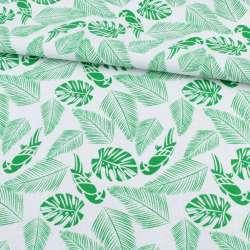 Деко-котон білий, зелені тропичні листя, папуги, ш.150