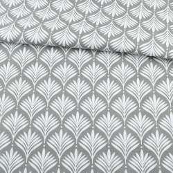 Деко-котон сірий, біле листя ш.150