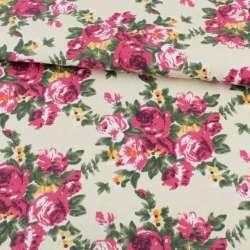 Деко-котон кремовий, малинові троянди, ш.150