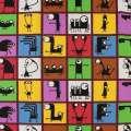 Деко-котон кольорові квадрати з чорними монстриками, ш.150