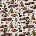 Деко-котон білий, червоні машини, дівчата, ш.150