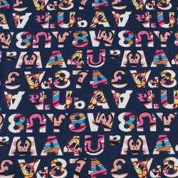 Деко-коттон синий в разноцветные цифры, буквы, ш.150