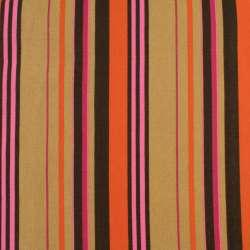Деко-котон бежево-коричневі, оранжево-малинові смужки, ш.150