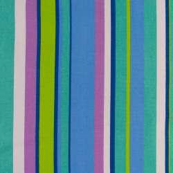 Деко-коттон салатово-синие, сиренево-белые полоски ш.150