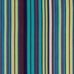 Деко-коттон бирюзовый в салатовые, синие, фиолетовые полоски, ш.150