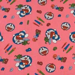 Деко-коттон розовый, кот Дораэмон, карандаши, ш.150