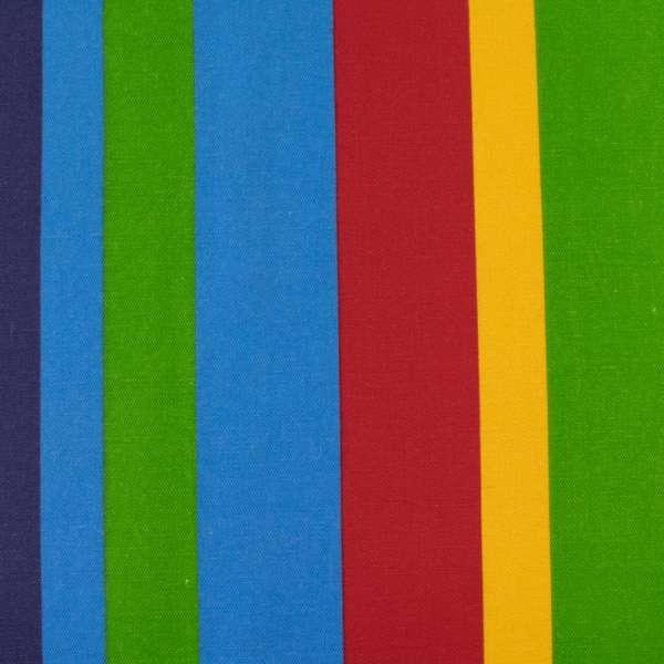 Деко-коттон белые, голубые, желтые, красные полоски, ш.150