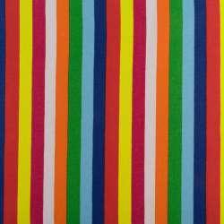 Деко-котон помаранчеві, зелені, синьо-блакитні + червоні смужки ш.150