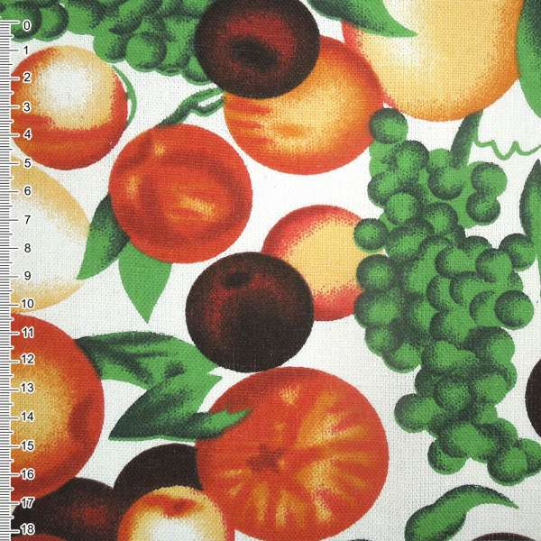 ткань мебел. белая с фруктами ш.150