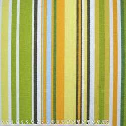 Ткань мебельная оранжево-зеленые, салатово-желтые, белые полоски ш.150