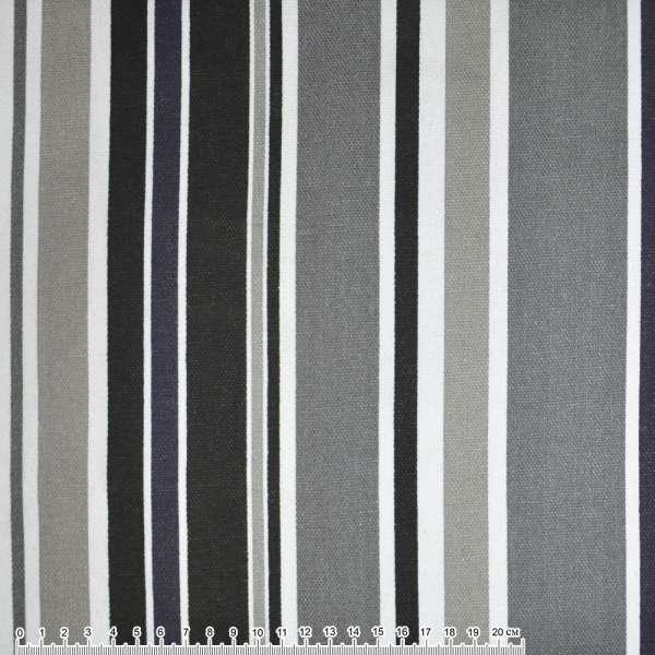 Деко-котон сіро-чорні, білі смужки ш.150