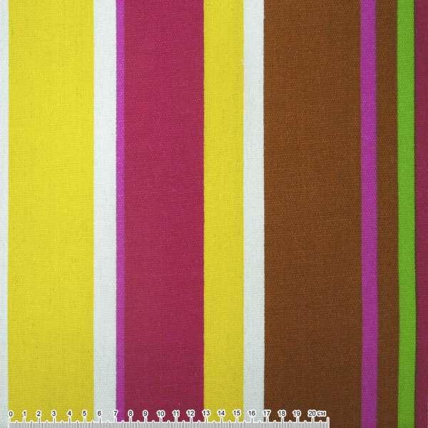 ткань мебел. малин-желтые+корич-белые широк. полоски ш.150