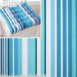 Деко-котон в бірюзово-блакитну, синьо-білу смужку ш.150