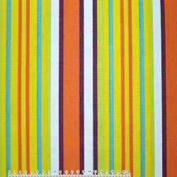 Тканина меблева салатово-жовті і оранжево-білі смужки ш.150