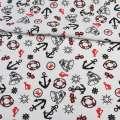 Деко-коттон белый, якоря, красные флажки, ш.150