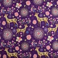 Деко-лен фиолетовый в цветы и олени ш.145