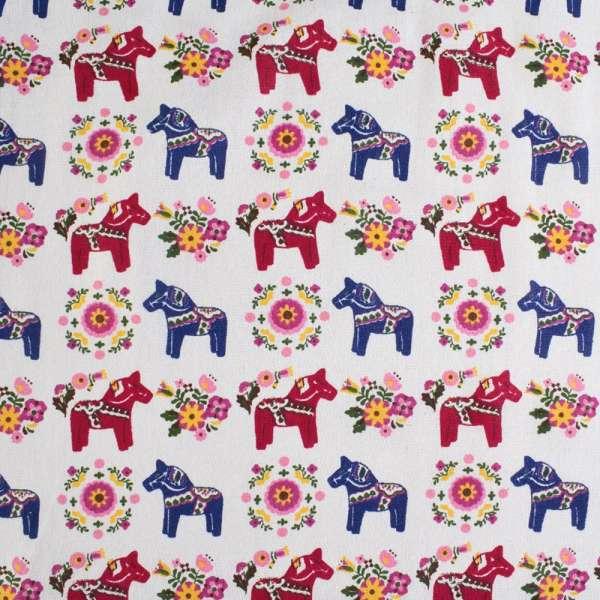Деко-лен молочный в сине-бордовые лошадки, цветы ш.150