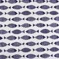 Деко-лен белый в темно-синие рыбки ш.145