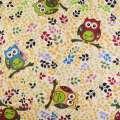 Деко-лен бежевый в сине-желто-бордово-зеленые ветки, совы ш.150