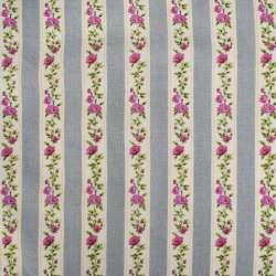 Деко-льон сірий в бежево-зелено-рожеву тасьму в квіти ш.150