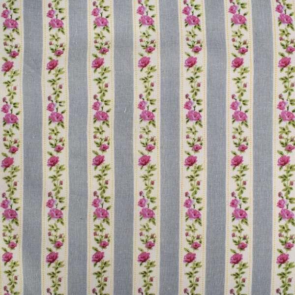 Деко-лен серый в бежево-зелено-розовую тесьму в цветы ш.150