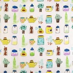 Деко-лен молочный в желто-зеленые баночки и цветы ш.150