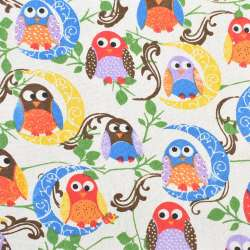 Деко-лен молочный в разноцветные совы, ш.150
