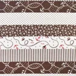 Деко-лен молочный в коричневые полосы с якорями, ш.150