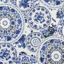 Деко-льон молочний в кола з синіми візерунками, ш.150