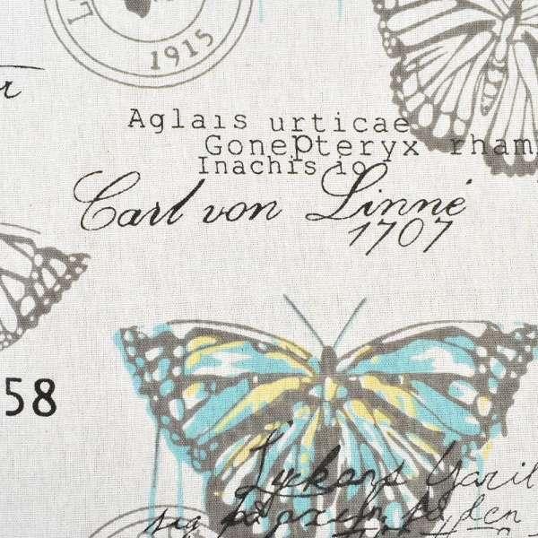 Деко-лен молочный в бирюзово-желтые и серые бабочки, ш.150