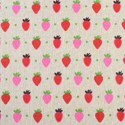 Деко-лен бежевый в красные и розовые клубники, ш.150