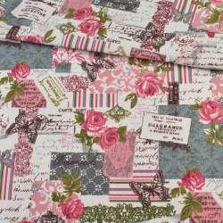 Деко-льон молочний, малинові троянди, метелики, мережива, ш.150