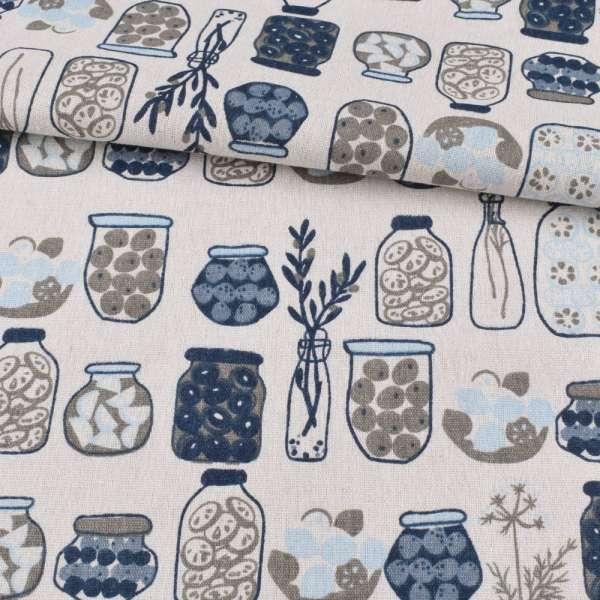 Деко-лен белый, синие, серые вазы, банки, ш.150