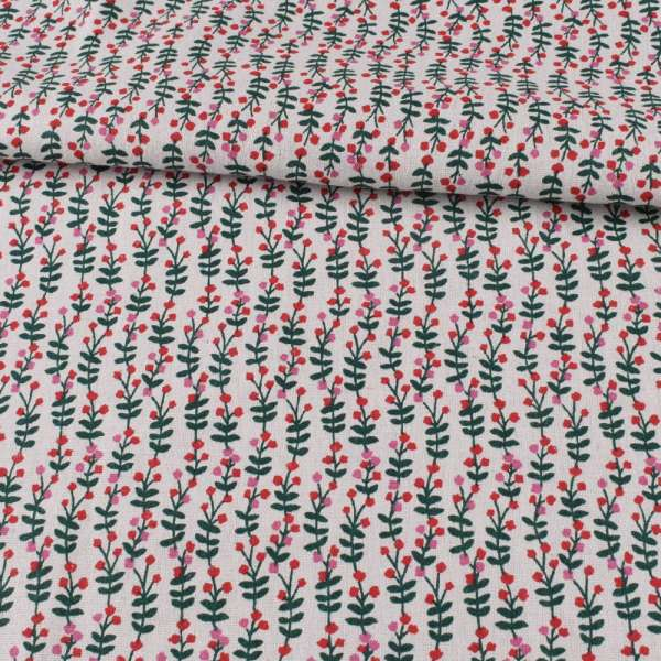 Деко-лен белый, зеленые листики, красные, розовые цветки, ш.150