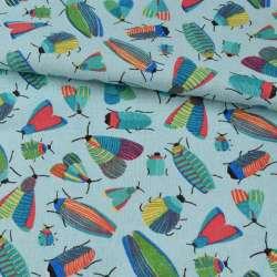 Деко-лен голубой, разноцветные насекомые, ш.150