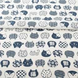 Деко-льон білий, сині графічні кішки, ш.150