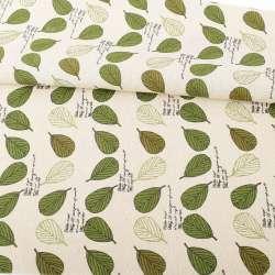 Деко-лен бежевый, зеленые, белые листья, ш.156