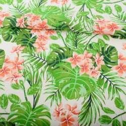Деко-льон білий, зелені тропічні листя, помаранчеві квіти ш.152
