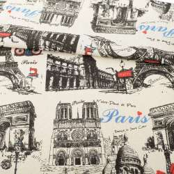 Деко-льон пісочний, чорні графічні малюнки, Париж, раппорт 32см, ш.152