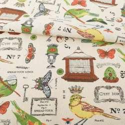 Деко-льон бежевий, пташині клітки, метелики, різнокольорові пташки, ш.152