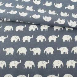 Деко-льон сіро-синій, білі слони ш.152