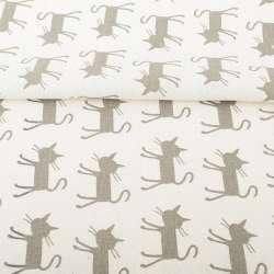 Деко-льон молочний, сірі кішки, ш.150