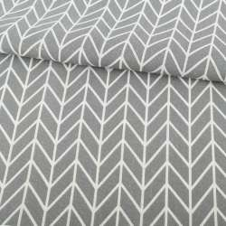 Деко-льон сірий в білий геометричний малюнок ялинка ш.154