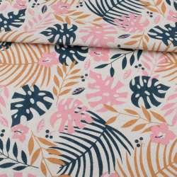 Деко-льон білий, сині, бежеві, рожеві листя, ш.155