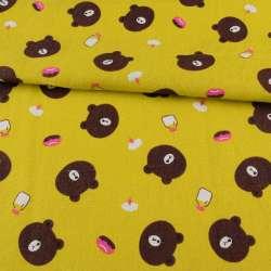 Деко-льон жовто-зелений, коричневі ведмедики, ш.150