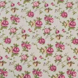 Деко-льон бежевий в кремово-рожеві троянди
