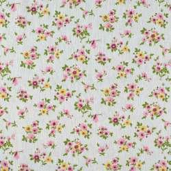Деко-льон молочний в дрібні рожеві, жовті квітки ш.155